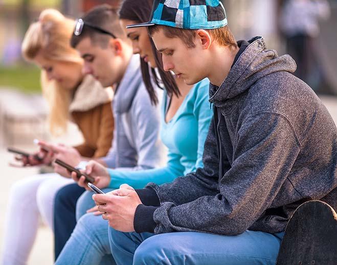 teens using cellphones
