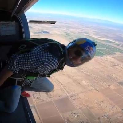 Jeff Provenzano jumping out of a plane